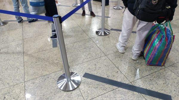 Social Distancing am Frankfurter Flughafen